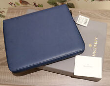 Mulberry iPad Folio Tablet Cover Case in Grainy Print Slate Blue Leather New