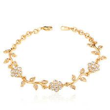 Romantic Flower Leaf Charms Chain Bracelet 18K Gold Plated Lady's Jewelry Gift