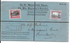 SOUTH WEST AFRICA REGd OHMS 1927 COVER STATION CDS ON REVERSE