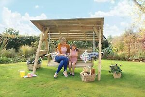 Zest  3 Seater Miami Wooden Garden Swing Seat  With Roof 15216