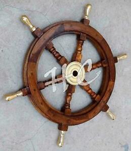 "Vintage Solid Brass Handle 18"" Wooden Ship Wheel Boat Steering Antique Gift"