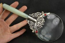 Old Decorated Handwork Jade Armoured Miao Silver Flower Usable Magnifying Glass