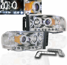 2002-05 DODGE RAM 1500/2003+ 2500 3500 CHROME PROJECTOR HALO HEAD LIGHTS+LED DRL