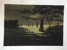 Vintage Hand-painted Asian Painting of War Ships in a River on the Moon Light