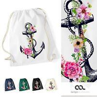Turnbeutel Blumen Anker Ethno Boho Hipster Beutel Tasche Gym Bag Watercolour