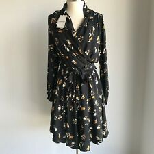 Country Road Size 10 12 print wrap dress charcoal NWT
