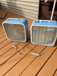 """Vintage Pair Of KMART  Blue 3 Speed 16 """" Metal Box Fan Made By Lakewood USA"""