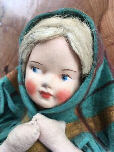 Beautiful Antique 1950's Polish Dozynski Folk Dancer Doll Painted Face Lenci