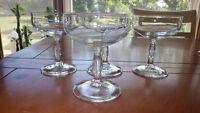 Etched Champagne Glasses Clear Glass Elegant Stem Floral Design 4 6 oz Stems
