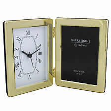 BRASS PLATED 4 X 6 PHOTO FRAME AND  MANTEL CLOCK NEW & BOXED