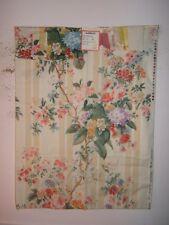 "Brunschwig & Fils ""Tournier Rose"" floral stripe, vintage design clr beige stripe"