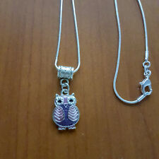Fashion Purple and Pink Owl Pendant with Silver Chain Jewellery Gift
