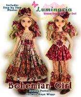 """Bohemian Girl PDF Dress & Hat Pattern. Fits 18"""" MSD BJD Kaye Wiggs Liz Frost"""