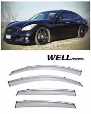 For 11-UP Infiniti M35h M37 M56 WellVisors Side Window Visors with Chrome Trim