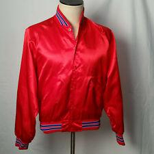 """Vintage 1980s Red Satin Varsity Disco Nylon Bomber Jacket NOS Medium 45"""" Chest"""