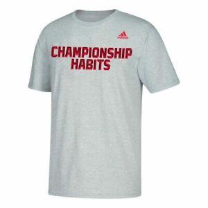 Adidas Training Tee Mens Large Authentic Gray Championship Habits Graphic Shirt