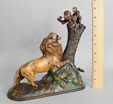 Antique 19thC Painted Cast Iron Kyser & Rex Mechanical Bank Lion & 2 Monkeys NR