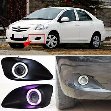 LED COB Angel Eyes+HID Lamp Projector Lens Foglights For Toyota Vios 2008-2013
