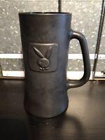 Playboy Vintage Tall Black matte Glass Tankard Stein Mug raised Logo