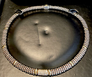 "Sterling Silver 18K LAGOS Caviar LUX Pave Diamond Necklace 16"" Stunning"