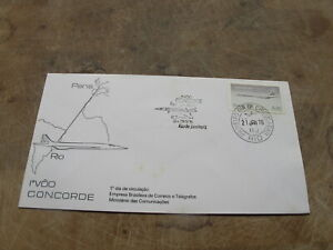 1977 Brazil FDC / First Day Cover - Aviation - Concorde flight, Paris to Rio