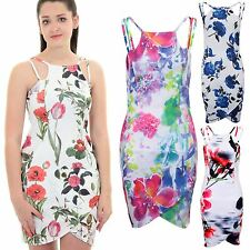 Ladies Strappy Floral Flower Print Wrap Front Curved Hem Bodycon Short Dress