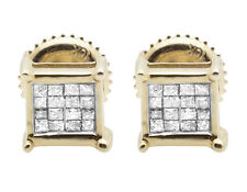 Ladies Men's 10K Yellow Gold Genuine Princess Diamond Earring Studs 0.33CT 6MM