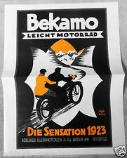 BEKAMO LEICHT MOTORRAD PROSPEKT 1923 BERLIN OLDTIMER VORKRIEG