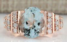 3.66 Carat Natural Aquamarine 14K Rose Gold Diamond Ring