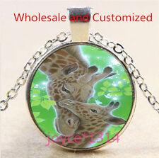 Vintage LOVE Giraffe Cabochon Tibetan silver Glass Chain Pendant Necklace #4882