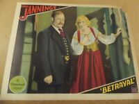 """BETRAYAL(1929)EMIL JANNINGS ORIGINAL 11""""BY14"""" LOBBY CARD GORGEOUS COLORS!"""