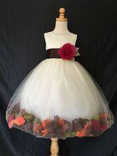 Ivory Flower Girl Bridesmaids Mixed Petal Fall Wedding Toddler Girl Dress #24