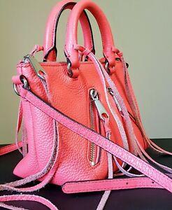 NWOT Rebecca Minkoff Leather Moto Satchel Purse Handbag Coral/Pink MSRP $195