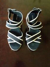 Old Navy Black and Beige Trimming Wedges size 7