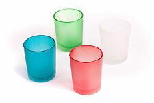 FROSTED GLASS TEA LIGHT WITH LED CANDLE VOLTIVE AVAILABLE IN 04 COLORS