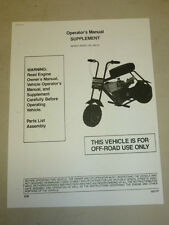 Manco Mini-Bike Model 580-01 Assembly Operator Parts List Manual Supplement