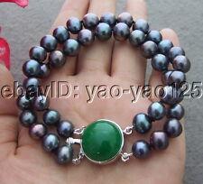 2Strands 8MM  Black Pearl Bracelet Green Jade Clasp