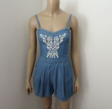 Hollister Chambray Embroidered Romper Size XS Blue & White