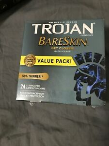Trojan Sensitivity Bareskin Lubricated Latex Condoms NIB