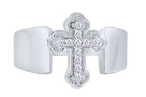 1/8 Ct Round Cut Natural Diamond Cross Engagement Ring In Sterling Silver 925