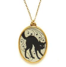 Maximal Art Halloween Necklace John Wind Black Cat Silhouette Gold Jewelry
