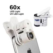 Clip On 60x Smart Mobile Phone Camera Magnifier Microscope Loupe W/ UV LED Light