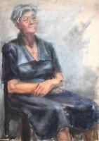 Vintage impressionist watercolor painting old woman portrait