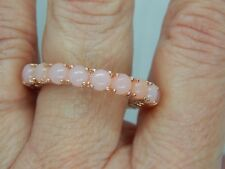 PERUVIAN PINK OPAL FULL ETERNITY RING-SIZE S-3.750CTS-WITH ROSE GOLD