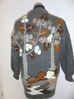 vintage Strickjacke grau hippy Wolljacke aus echter Wolle handgefertig M/L