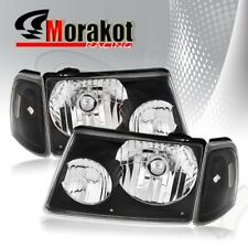 For 01-05 Ford Ranger 2 Piece Pair Black Headlights Corner Clear Reflector Lamps