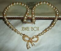 SPHINX VINTAGE BRIDGERTON GEORGIAN STYLE Faux Pearl Rhinestone Bow NECKLACE Gift