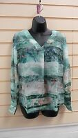 LADIES BLOUSE / TOP GREEN SIZE 10 PRINTED DETAIL BNWT
