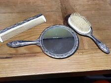 Vintage Hand Mirror, Comb, Brush Set