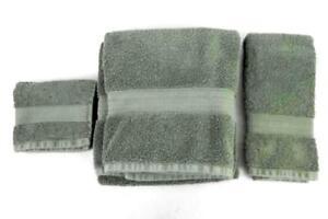 Main Stays Home 3 Piece Towel Set Dark Green Bath Hand Washcloth Cotton